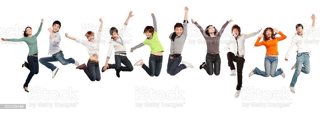 Group of business people jumping stock photo