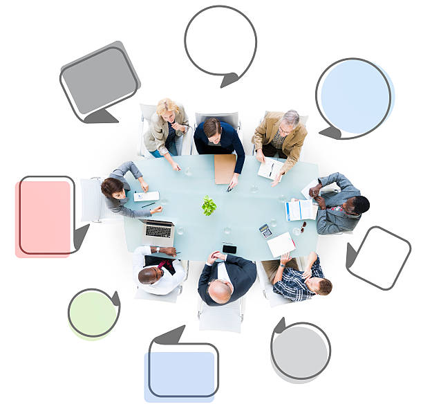 Group of Business People Meeting with Speech Bubbles Group of Business People Meeting with Speech Bubbles governing board stock pictures, royalty-free photos & images
