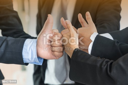 Group Of Business People Meeting With Thumb Up Gestureteamwork Concept Stock Photo & More Pictures of Adult