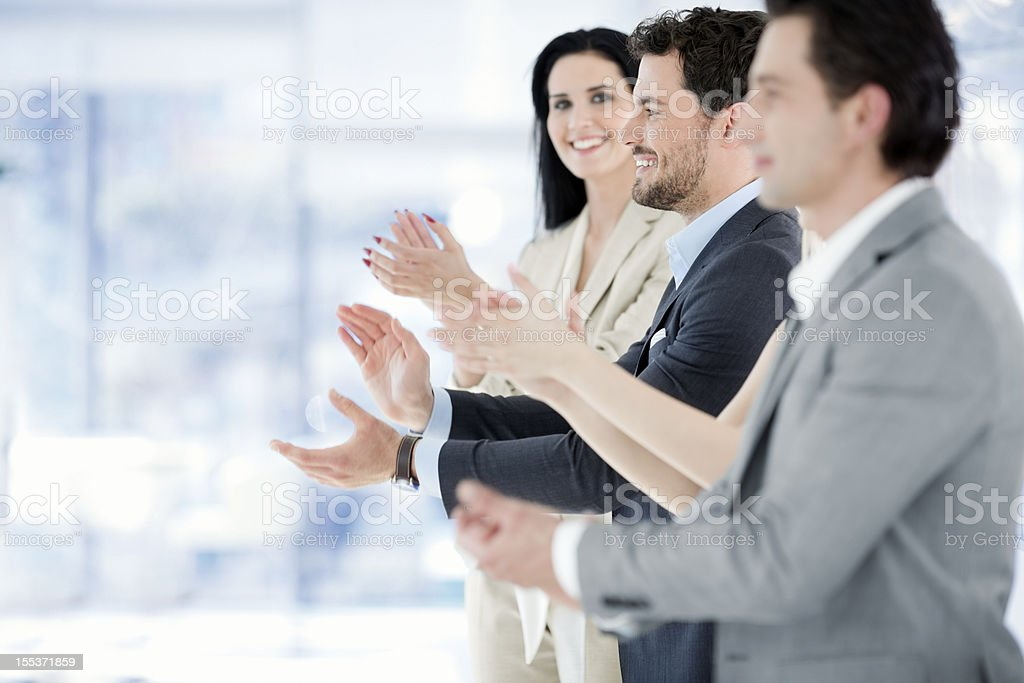 group of business people ,office  workers  appluading royalty-free stock photo
