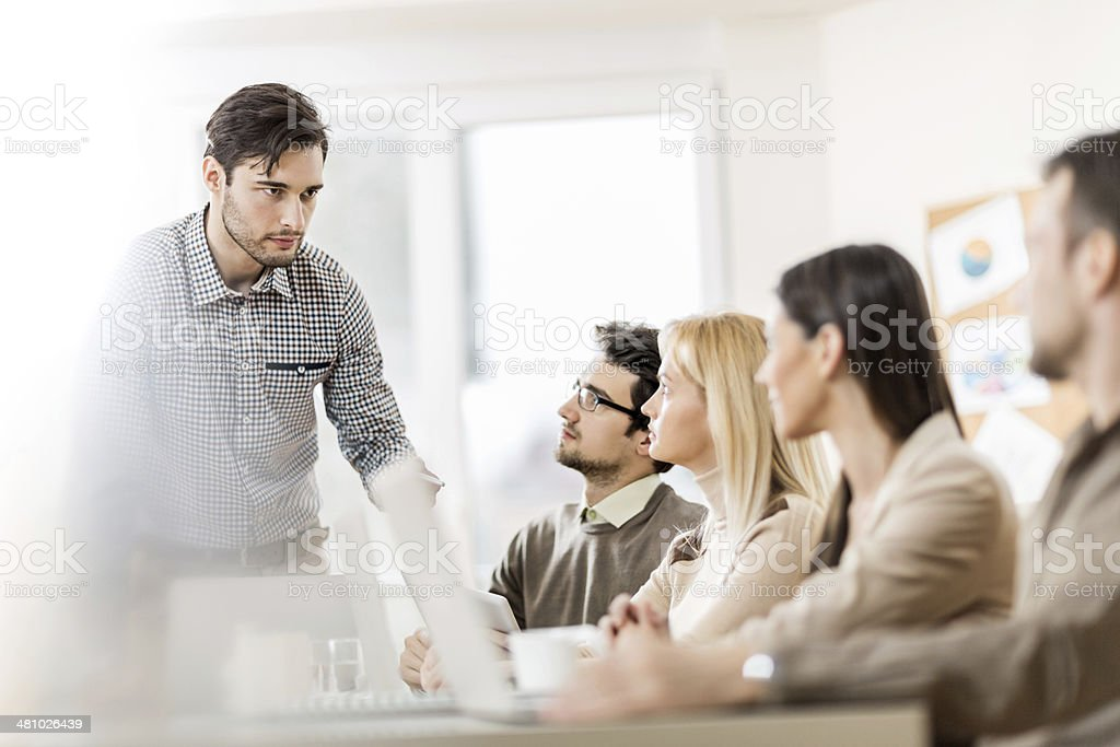 Group of business people on a meeting. royalty-free stock photo