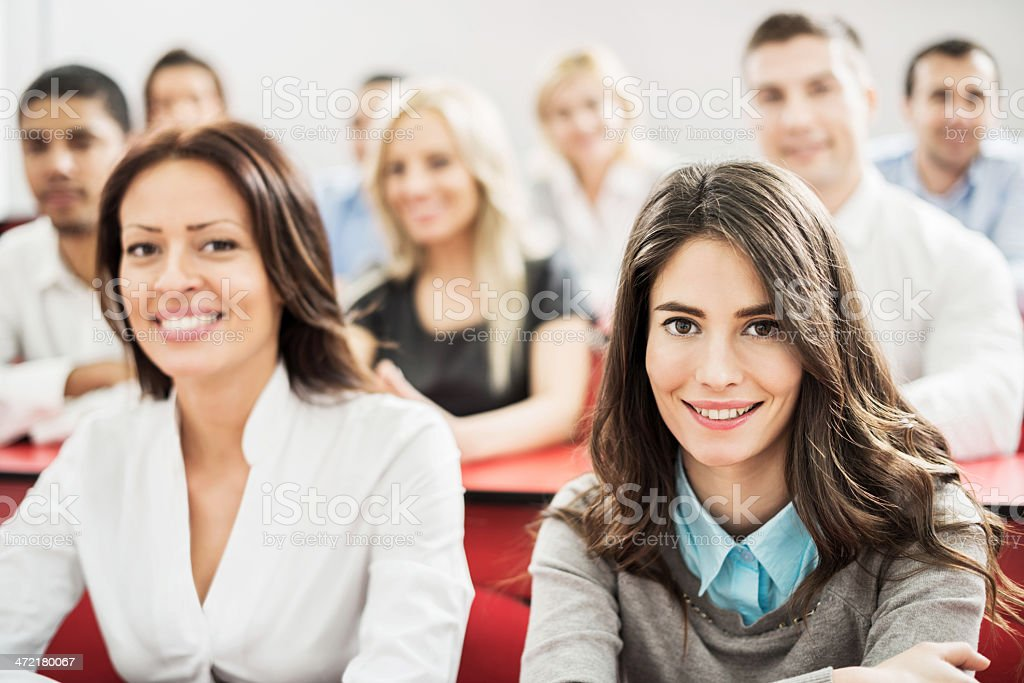 Group of business people on a seminar. stock photo