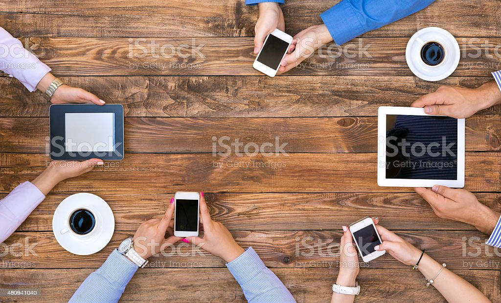 Group of Business People on Informal Meeting stock photo