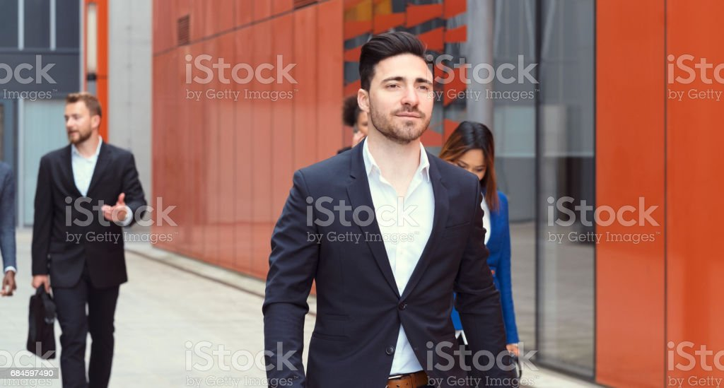 Group of business people on the street stock photo