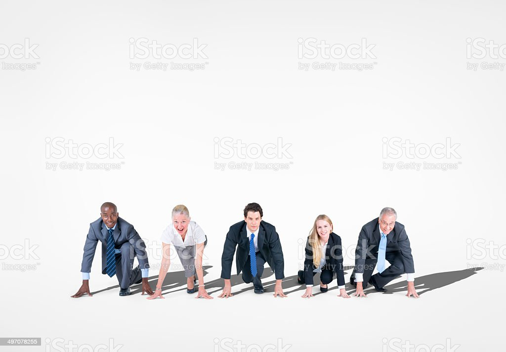 Group of Business People Ready on the Marks stock photo