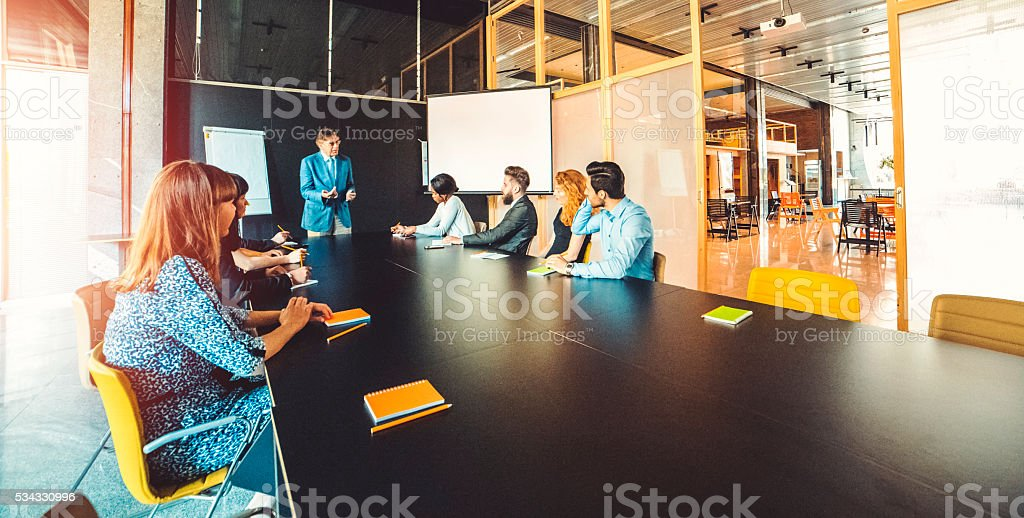 Group of business people, seminar, office, education stock photo