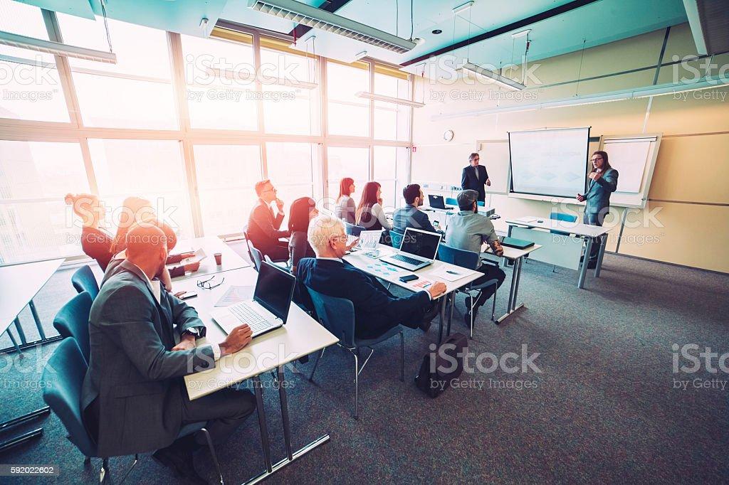 Grupo de pessoas de negócios, seminário, escritório, educação - fotografia de stock