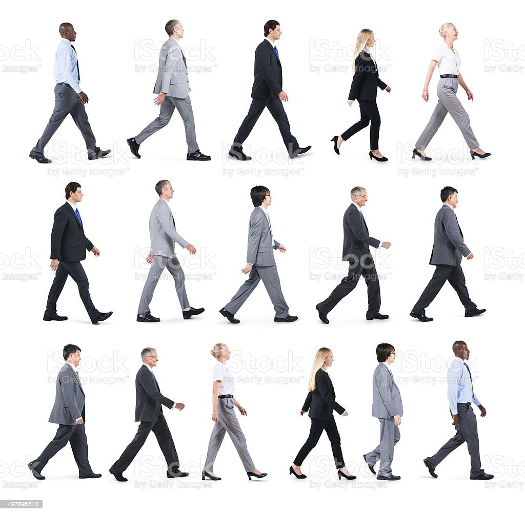 Group of Business People Walking in One Direction stock photo
