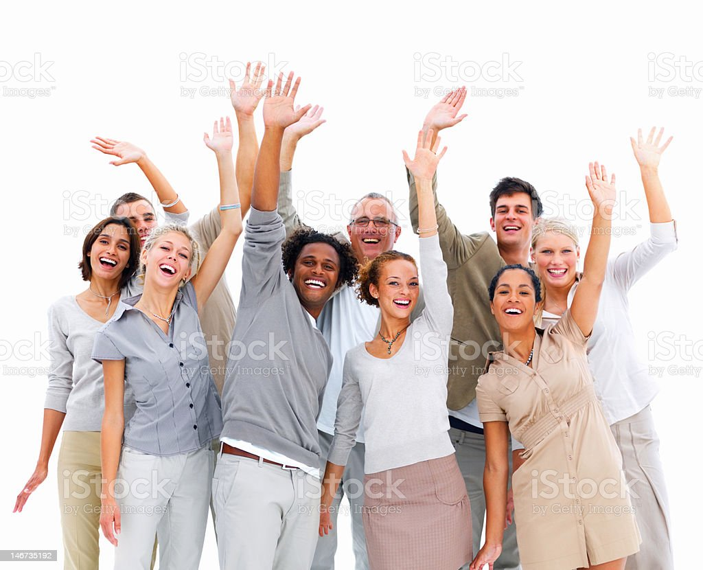 Group of business people waving their hands royalty-free stock photo