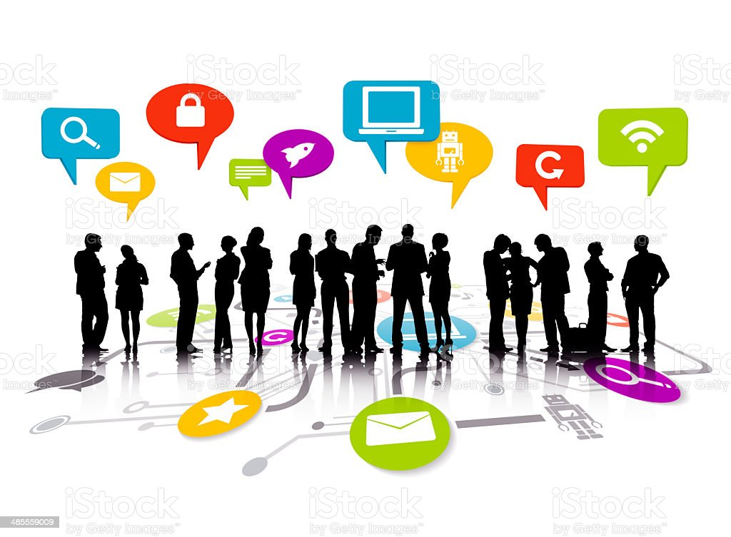 Group Of Business People Working And Global Networking Symbols stock photo