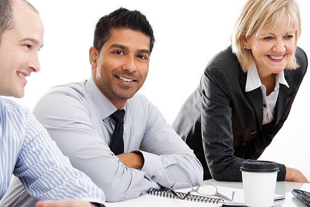 A group of business people working as a team stock photo