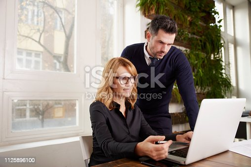 625740042 istock photo Group of business people working together on laptop in the office 1125896100