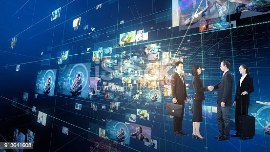 istock Group of business persons in cyberspace. IoT(Internet of Things). ICT(Information Communication Network). Social media. 913641608