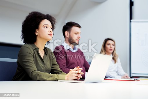 istock Group of business persons in discussion 954554046