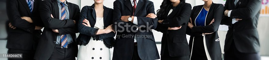 istock Group of business teamwork partners, Image panoramic web banner 1144044474