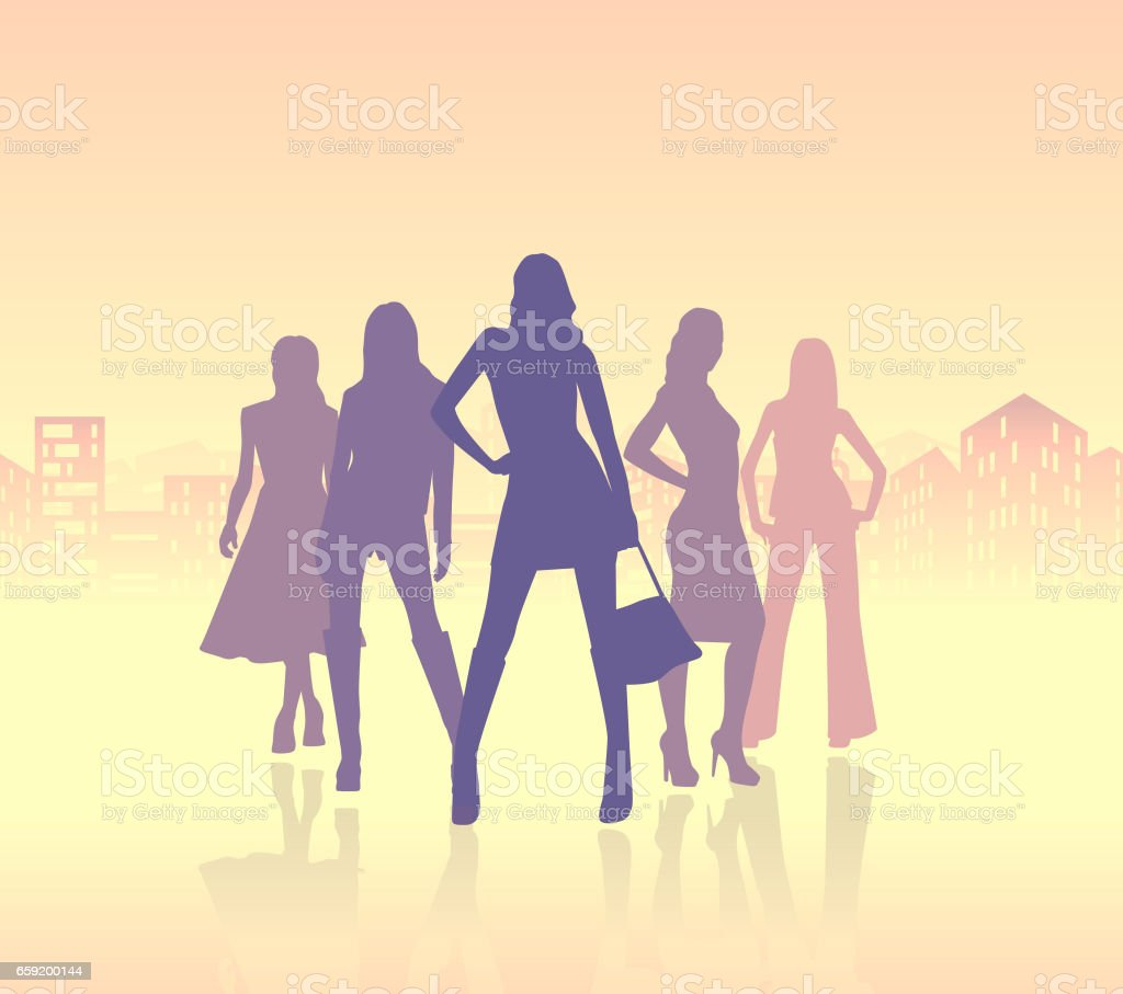 group of business women vector art illustration