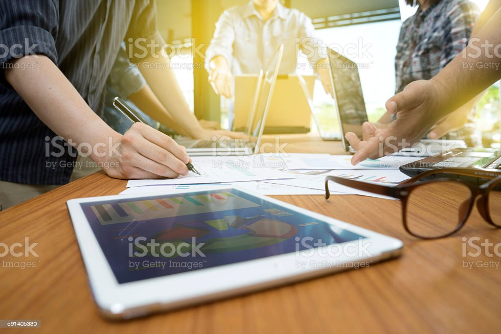 Group of businessman working plan stock photo