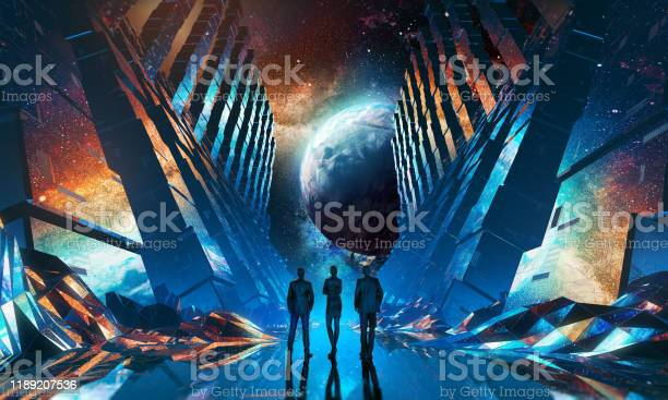 Photo of Group of businessmen watching planet standing in futuristic tunnel