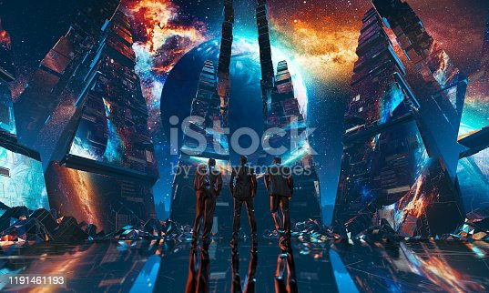 istock Group of businessmen watching planet standing in futuristic tunnel 1191461193