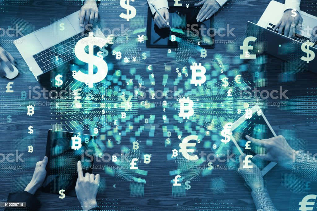 Group of businesspeople and financial technology concept. stock photo