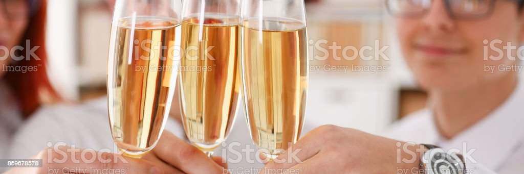 A group of businesspeople celebrating Christmas stock photo