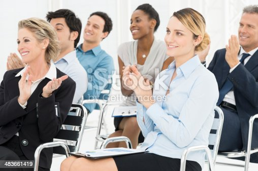 istock Group Of Businesspeople Clapping In Seminar 483661419
