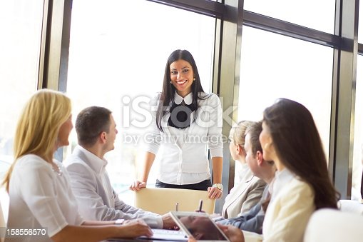 669854210 istock photo Group of businesspeople having a meeting. 158556570