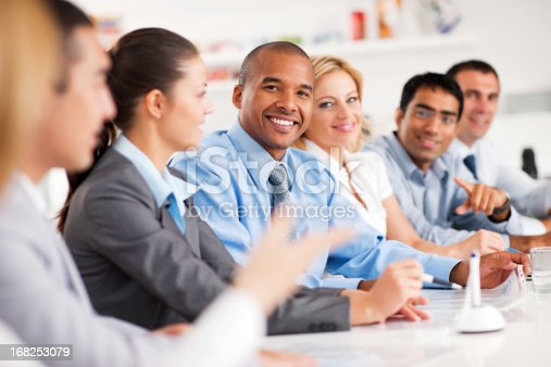 669854210 istock photo Group of businesspeople having a meeting. 168253079