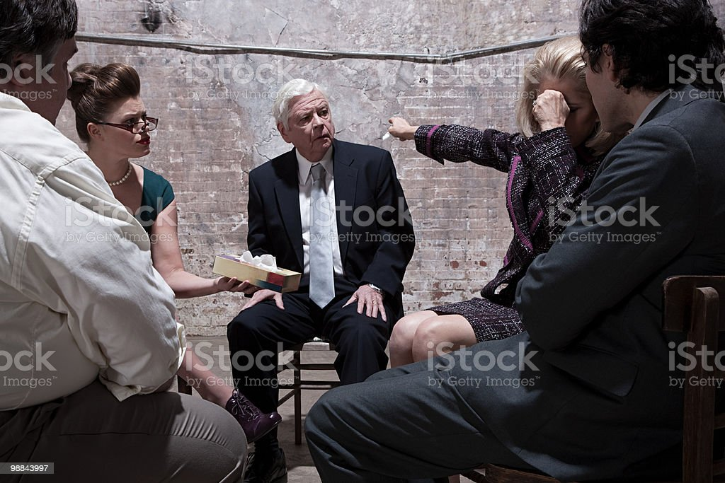 Group of businesspeople in warehouse royalty free stockfoto