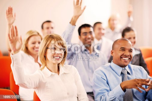 640177838 istock photo Group of businesspeople on a seminar. 169972222