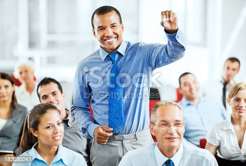 640177838 istock photo Group of businesspeople on a seminar 182030241