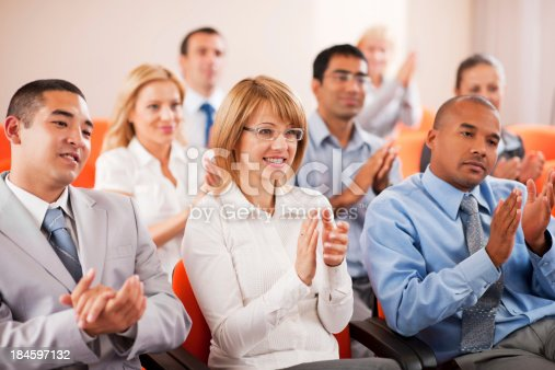894290604 istock photo Group of businesspeople on a seminar. 184597132