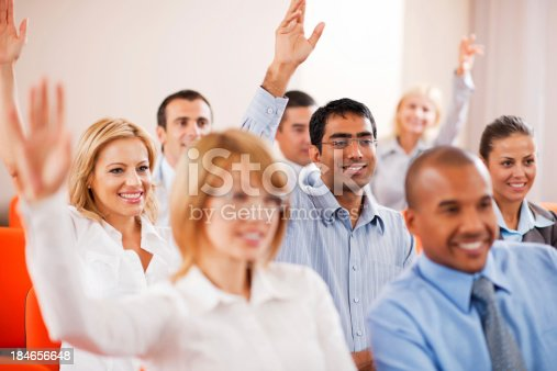 829570660 istock photo Group of businesspeople on a seminar. 184656648