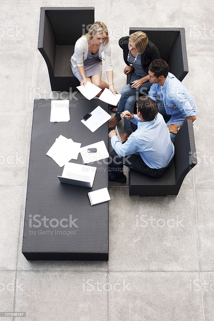 Group of businesspeople working on business project royalty-free stock photo