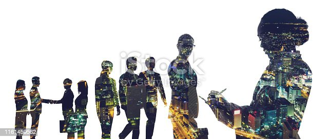 1079450712 istock photo Group of businessperson and city concept. 1161459562
