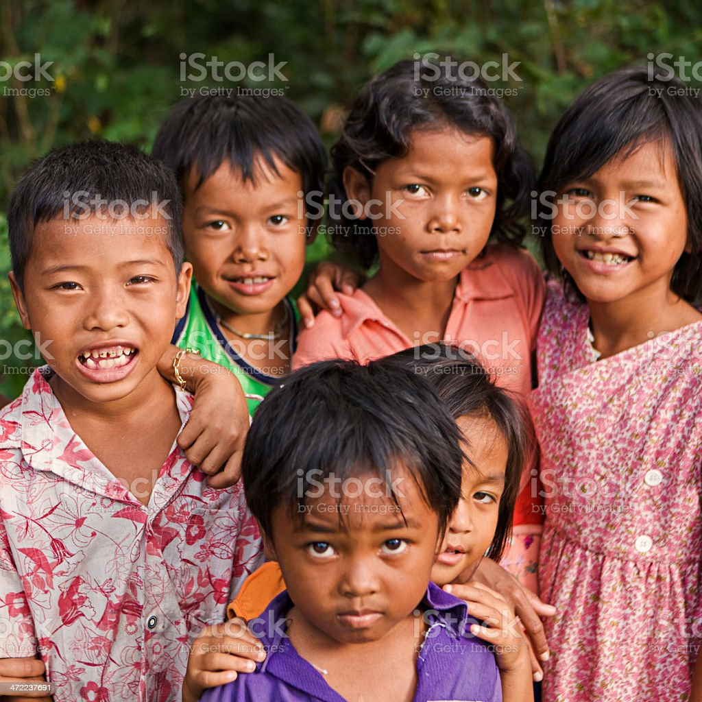 Group of Cambodian children royalty-free stock photo