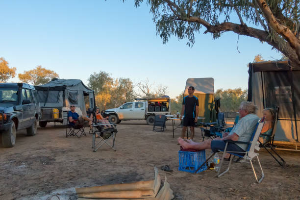 A group of campers at Old Cork in rural Queensland stock photo