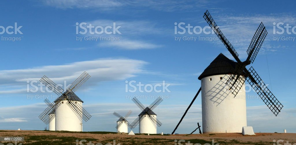Group of Campo de Criptana windmills stock photo