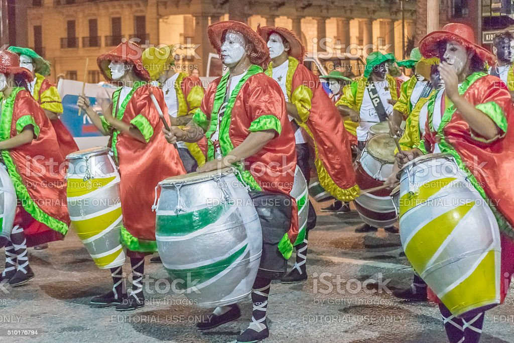 Group of Candombe Drummers at Carnival of Uruguay stock photo
