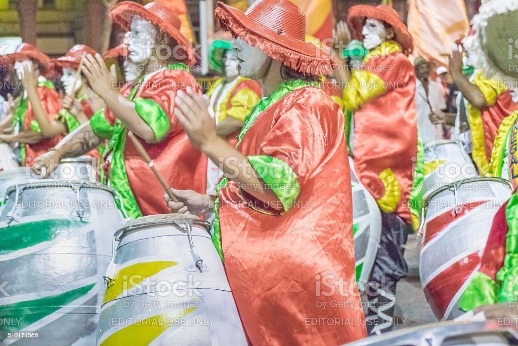 Group of Candombe Drummers at Carnival Parade of Uruguay stock photo