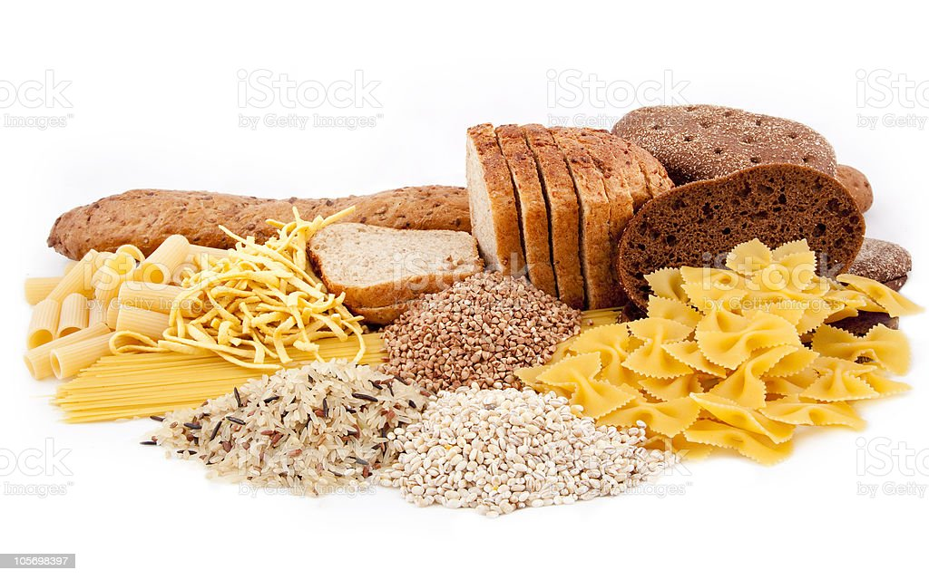 group of carbohydrate products stock photo
