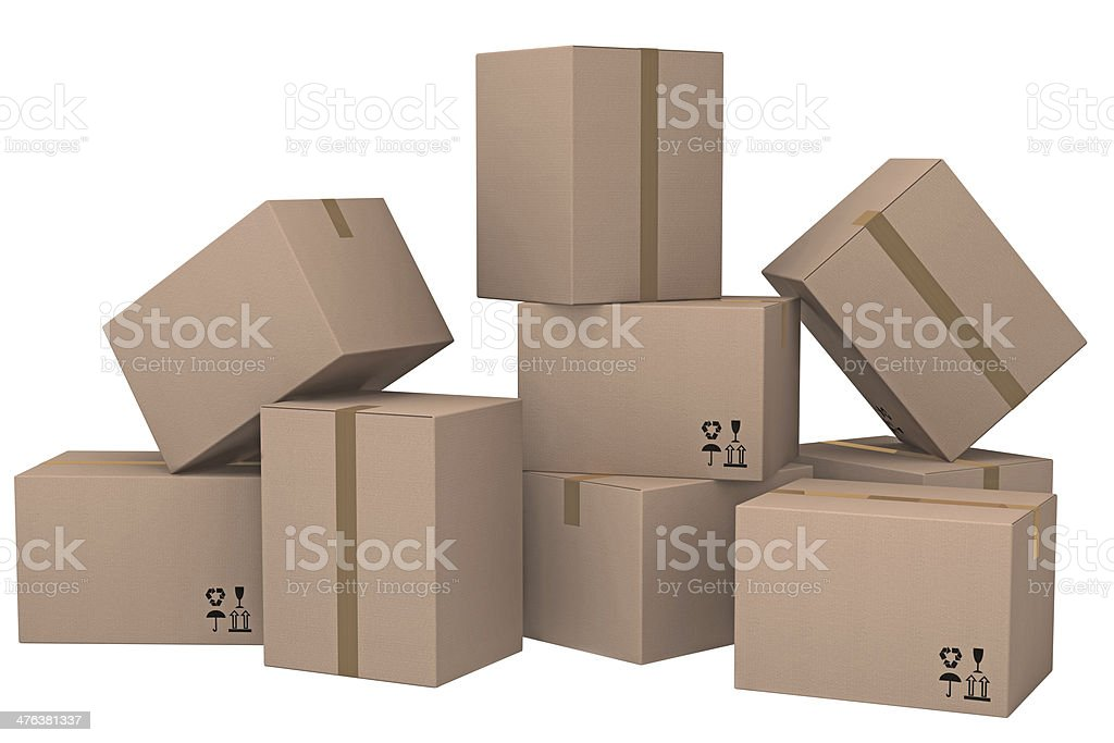 Group of cardboard boxes. royalty-free stock photo
