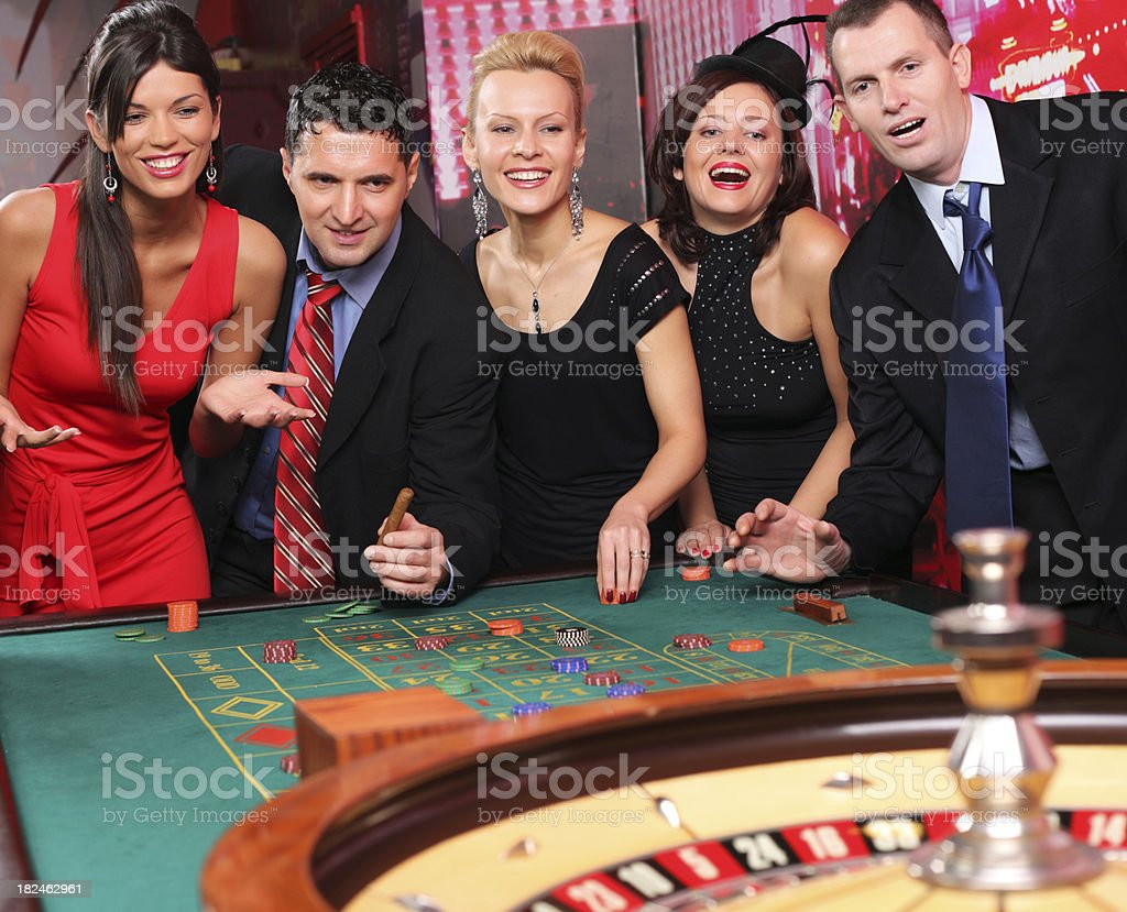 Group of casino gamblers on the roulette. royalty-free stock photo