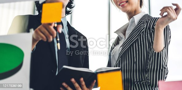 858413274 istock photo Group of casual business people planning and brainstorm writing over the project with stickers note on glass window at modern office.Teamwork concept 1217536199