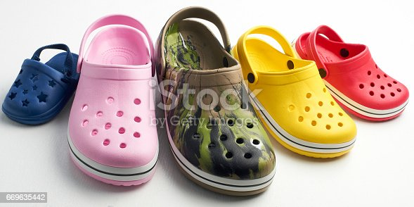 A group of casual clog shoes