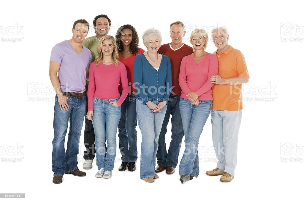 Group of casual people full length isolated on white royalty-free stock photo