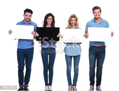istock group of casual people presenting blank cards 482021831