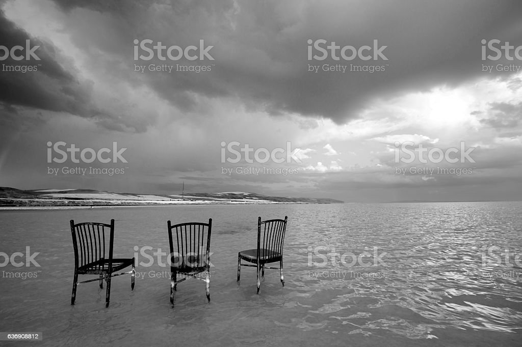Group of chairs in salt lake stock photo