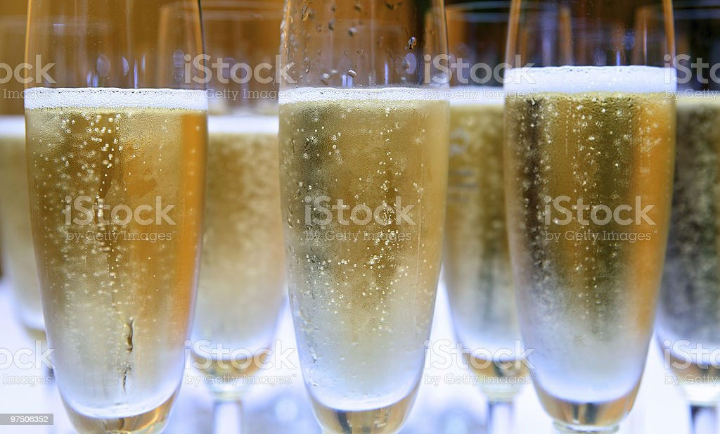 Group of Champagne glasses filled with bubbles royalty-free stock photo