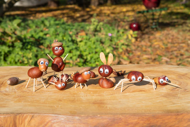 Group of characters or figurines made with chestnuts stock photo